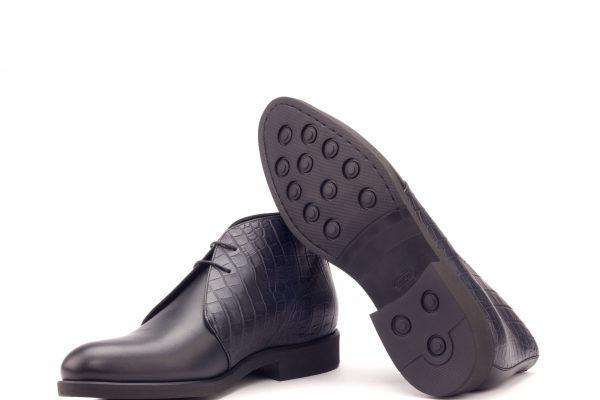 Chukka Boot - Box Calf Black-Croco Black-Ang9