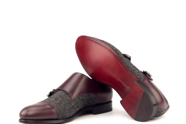 Double Monk - Box Calf Burgundy-Nailhead Black-Ang9