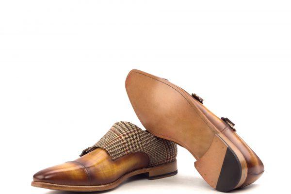 Double Monk - Crust Patina Cognac-Wool Tweed Brown-Ang9