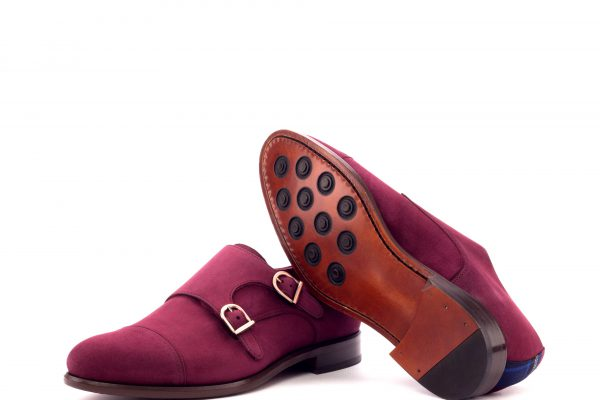 Double Monk - Kid Suede Wine-Tartan Red-Ang9
