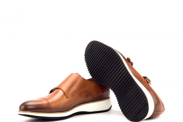 Double Monk - Light Burnishing -Painted Calf Cognac-Running Sole-Ang9