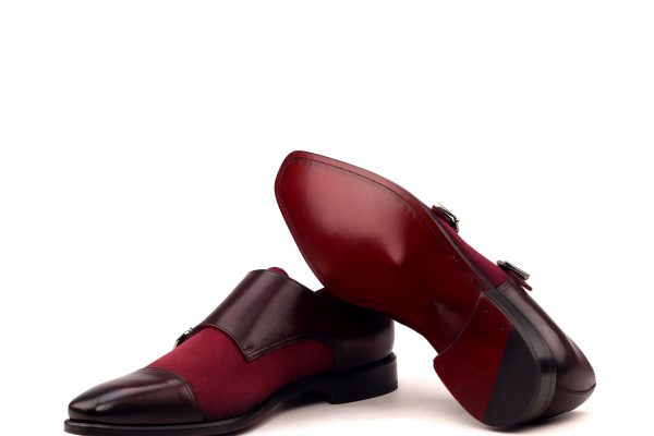 Double Monk - Light Burnishing-painted Calf Burgundy-Kid Suede Wine-Ang9