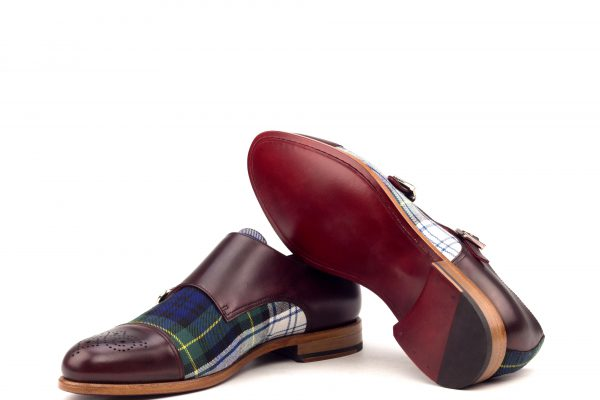 Double Monk Punch Cap- Painted Calf Burgundy-Tartan Green-Ang9