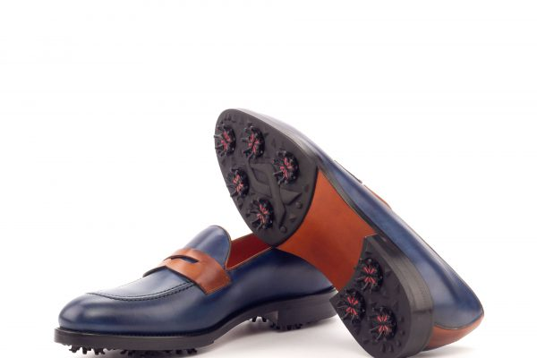 Loafer Golf - Painted Calf Navy And Cognac-Ang9