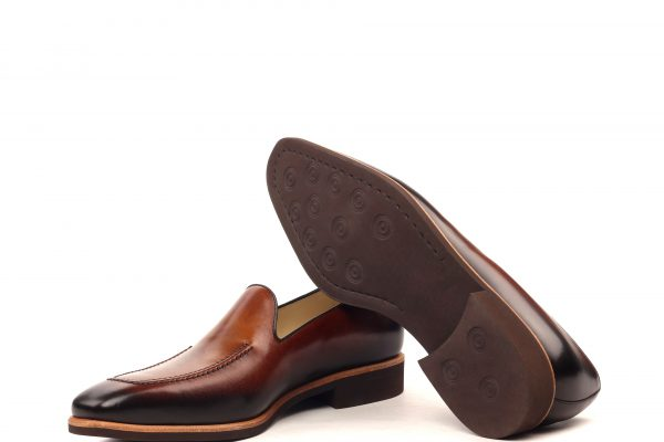 Loafer Plain - Light Burnishing-Painted Calf Med Brown And Dark Brown-Ang9