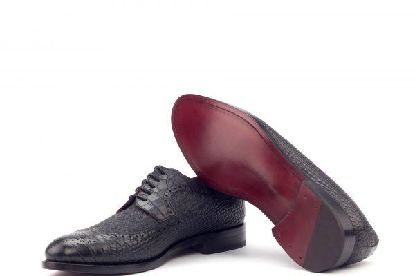 Longwing Blucher-Faux Croco Black-Flannel Dark Grey-Ang9